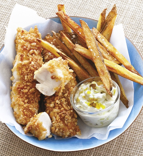Recipe: Baked Fish and Chips with Fat Free Tartar Sauce (using Greek