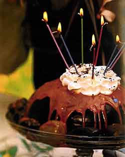 Recipe Chocolate Volcano Birthday Cake baked in a metal bowl